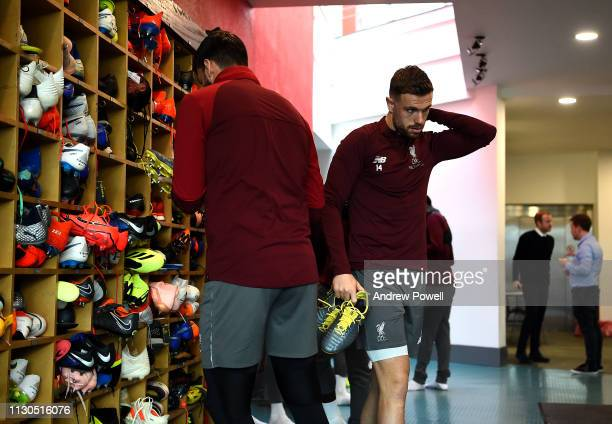 Jordan Henderson of Liverpool during a training session at Melwood training ground on February 18 2019 in Liverpool England