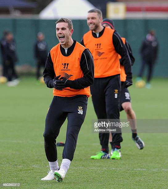 Jordan Henderson of Liverpool during a training session at Melwood Training Ground on December 12 2014 in Liverpool England