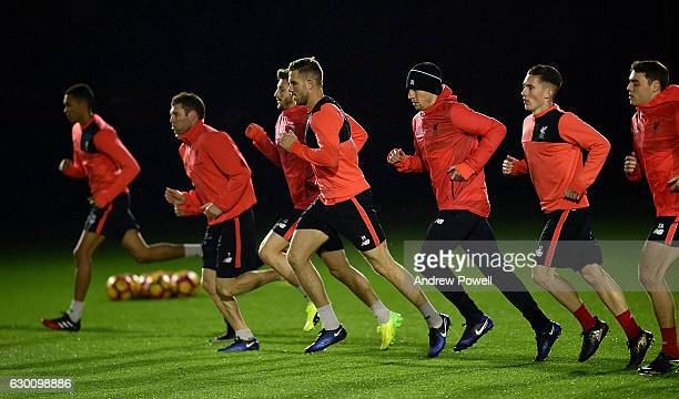 Jordan Henderson of Liverpool during a training session at Melwood Training Ground on December 16 2016 in Liverpool England
