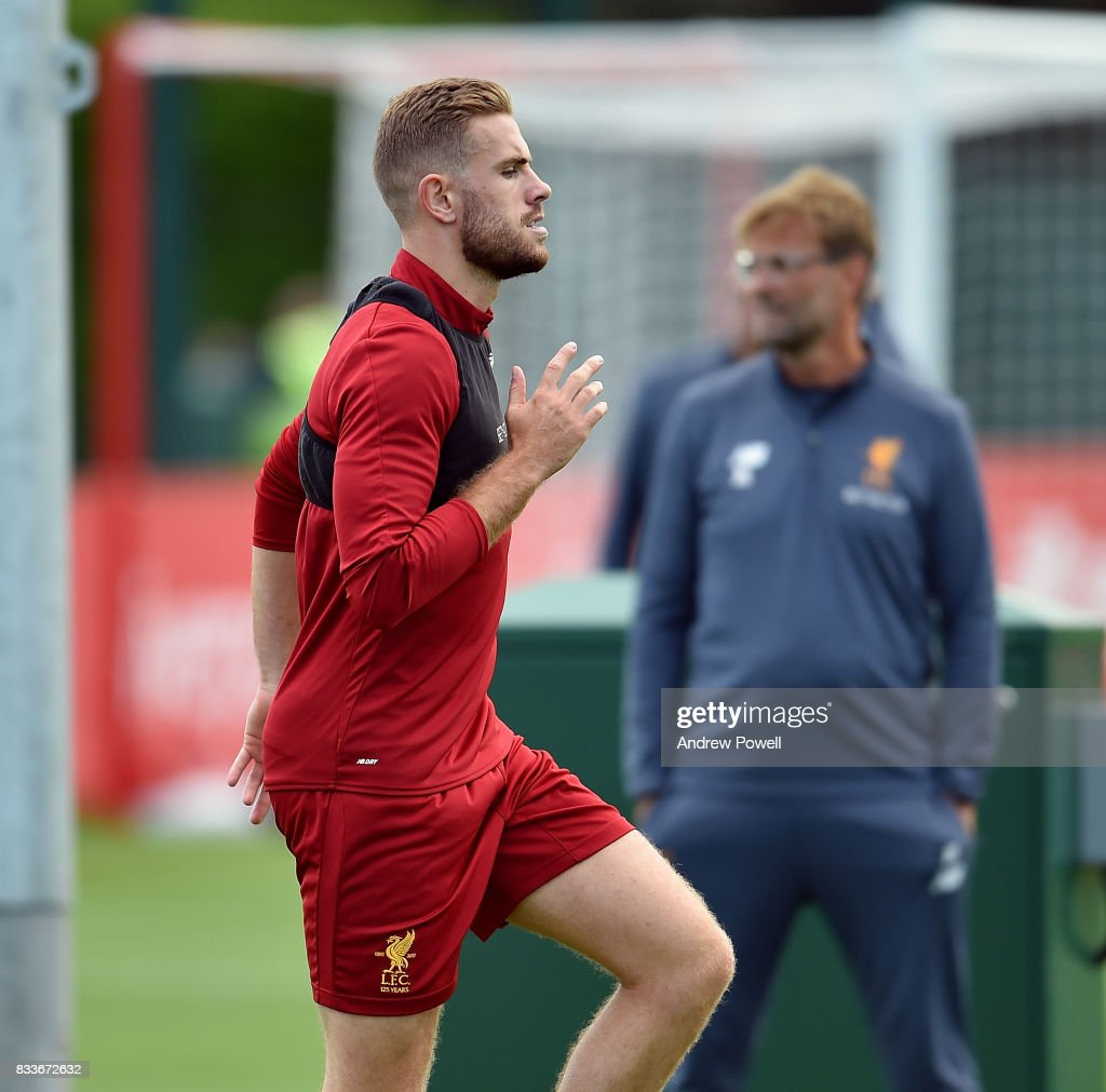 Jordan Henderson of Liverpool during a training session at Melwood Training Ground on August 17, 2017 in Liverpool, England.