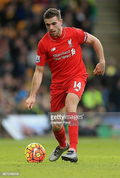 Jordan Henderson of Liverpool during the Barclays Premier League match between Norwich City and Liverpool at Carrow Road stadium on January 23 2016...