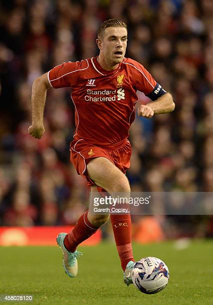 Jordan Henderson of Liverpool during the Capital One Cup Fourth Round match between Liverpool and Swansea City at Anfield on October 28 2014 in...