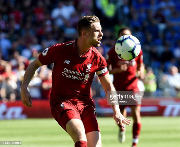 Jordan Henderson of Liverpool during the Premier League match between Cardiff City and Liverpool FC at Cardiff City Stadium on April 21 2019 in...