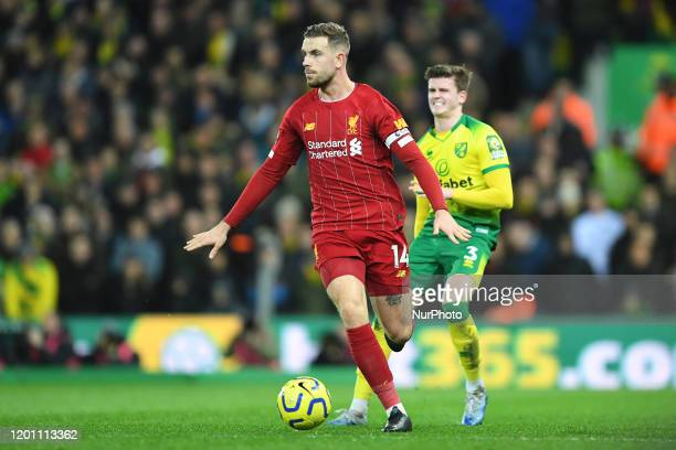 Jordan Henderson of Liverpool during the Premier League match between Norwich City and Liverpool at Carrow Road Norwich on Saturday 15th February 2020