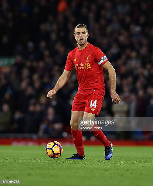 Jordan Henderson of Liverpool during the Premier League match between Liverpool and West Ham United at Anfield on December 11 2016 in Liverpool...