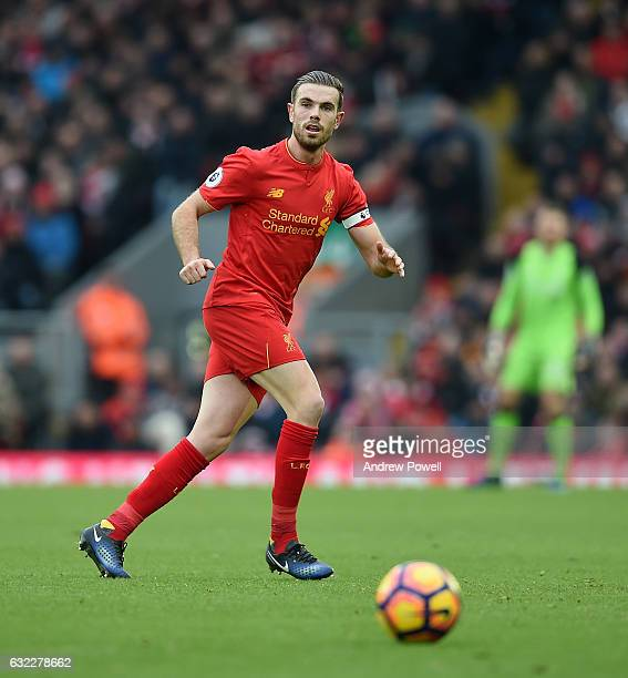 Jordan Henderson of Liverpool during the Premier League match between Liverpool and Swansea City at Anfield on January 21 2017 in Liverpool England