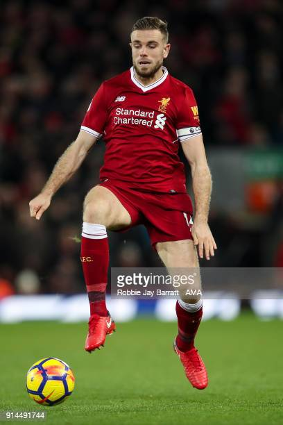 Jordan Henderson of Liverpool during the Premier League match between Liverpool and Tottenham Hotspur at Anfield on February 4 2018 in Liverpool...