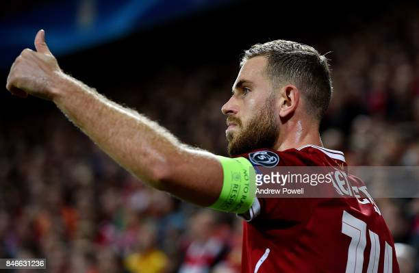Jordan Henderson of Liverpool during the UEFA Champions League group E match between Liverpool FC and Sevilla FC at Anfield on September 13 2017 in...