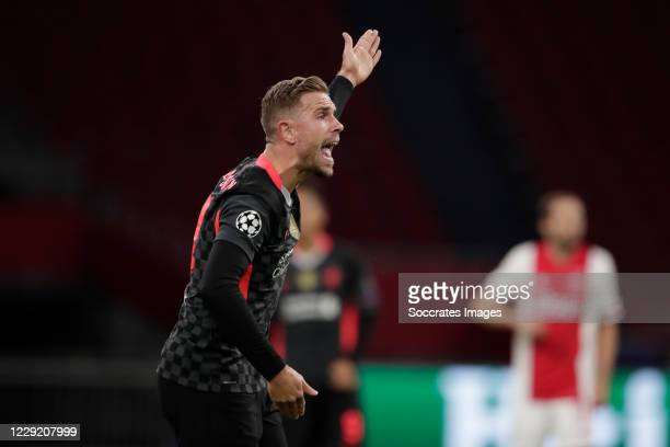 Jordan Henderson of Liverpool during the UEFA Champions League match between Ajax v Liverpool at the Johan Cruijff Arena on October 21 2020 in...