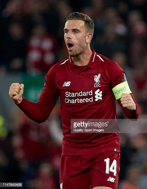 Jordan Henderson of Liverpool FC celebrates a goal during the UEFA Champions League Semi Final second leg match between Liverpool and Barcelona at...