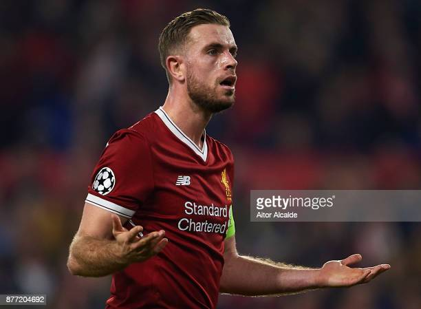 Jordan Henderson of Liverpool FC reacts during the UEFA Champions League group E match between Sevilla FC and Liverpool FC at Estadio Ramon Sanchez...