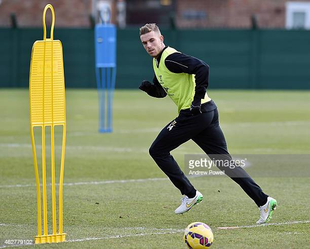 Jordan Henderson of Liverpool in action during a training session at Melwood Training Ground on February 5 2015 in Liverpool England
