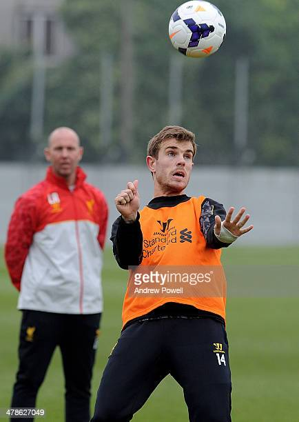 Jordan Henderson of Liverpool in action during a training session at Melwood Training Ground on March 14 2014 in Liverpool England