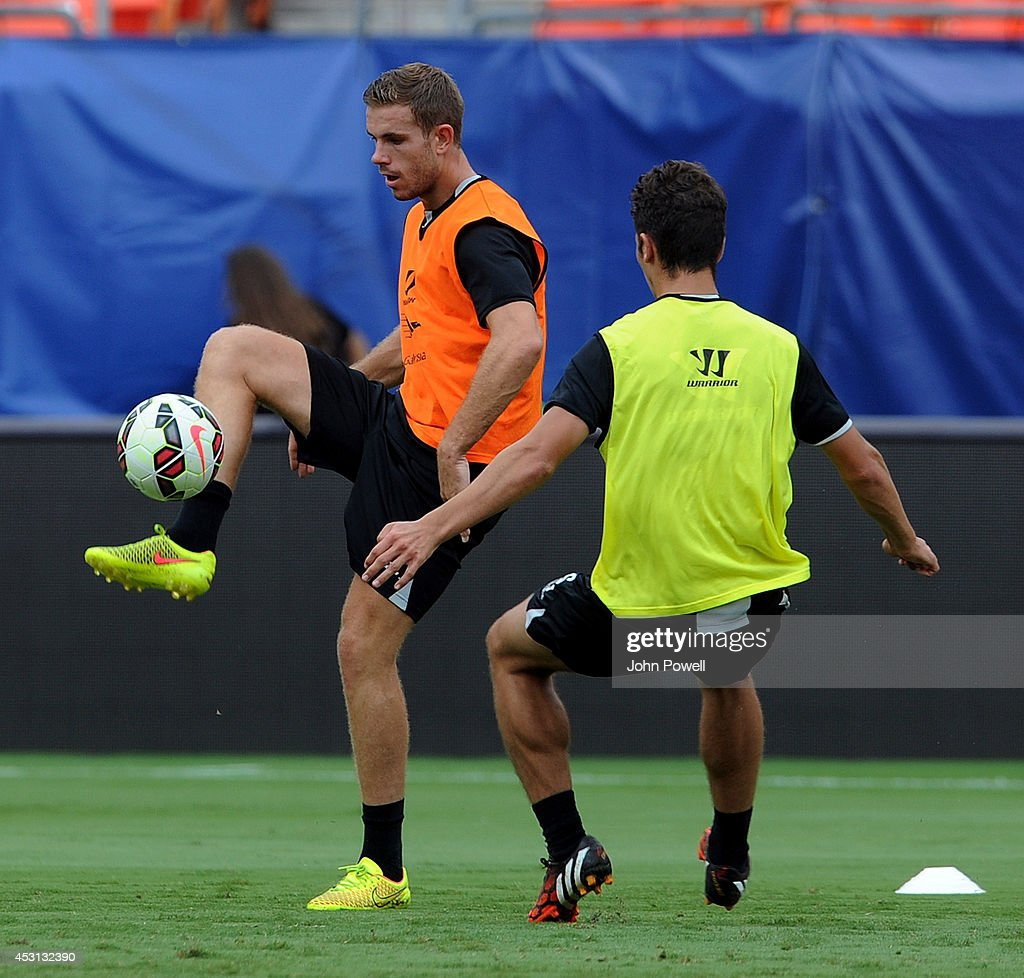 Jordan Henderson of Liverpool in action during an open training session at Sunlife Stadium on August 3, 2014 in Miami, Florida.