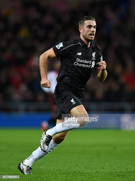Jordan Henderson of Liverpool in action during the Barclays Premier League match between Sunderland and Liverpoool at Stadium of Light on December 30...
