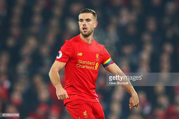 Jordan Henderson of Liverpool in action during the Premier League match between Liverpool and Sunderland at Anfield on November 26 2016 in Liverpool...