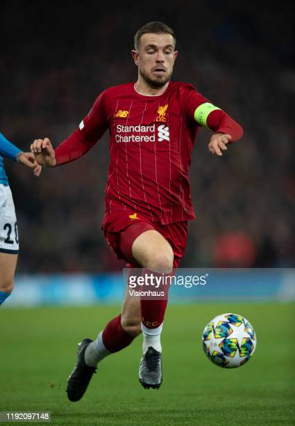 Jordan Henderson of Liverpool in action during the UEFA Champions League group E match between Liverpool FC and SSC Napoli at Anfield on November 27...