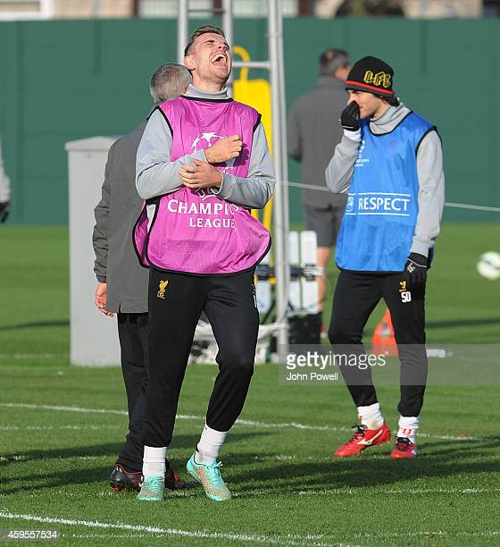 Jordan Henderson of Liverpool laughing during a training session prior the match between PFC Ludogorets Razgrad and Liverpool at Melwood Training...