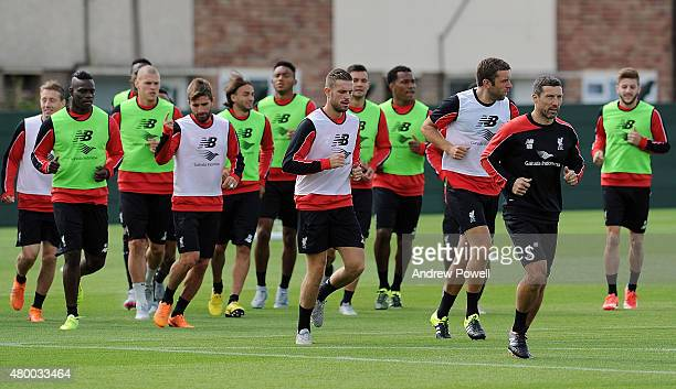 Jordan Henderson of Liverpool leads the team during a training session at Melwood Training Ground on July 9 2015 in Liverpool England