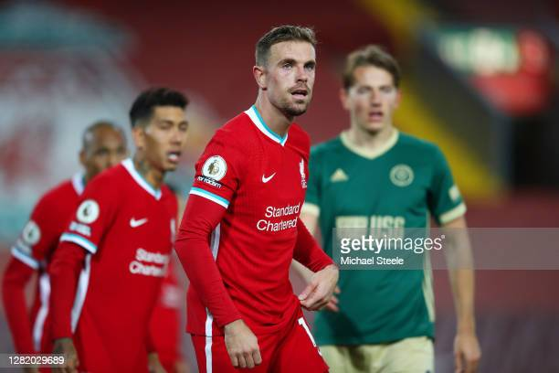 Jordan Henderson of Liverpool looks on during the Premier League match between Liverpool and Sheffield United at Anfield on October 24 2020 in...