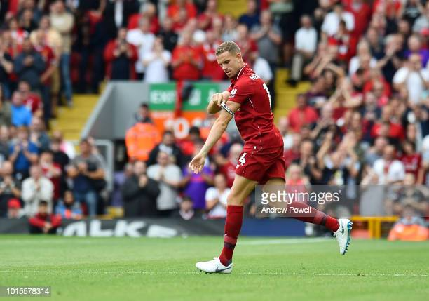 Jordan Henderson of Liverpool pulling up his captions arm band during the Premier League match between Liverpool FC and West Ham United at Anfield on...