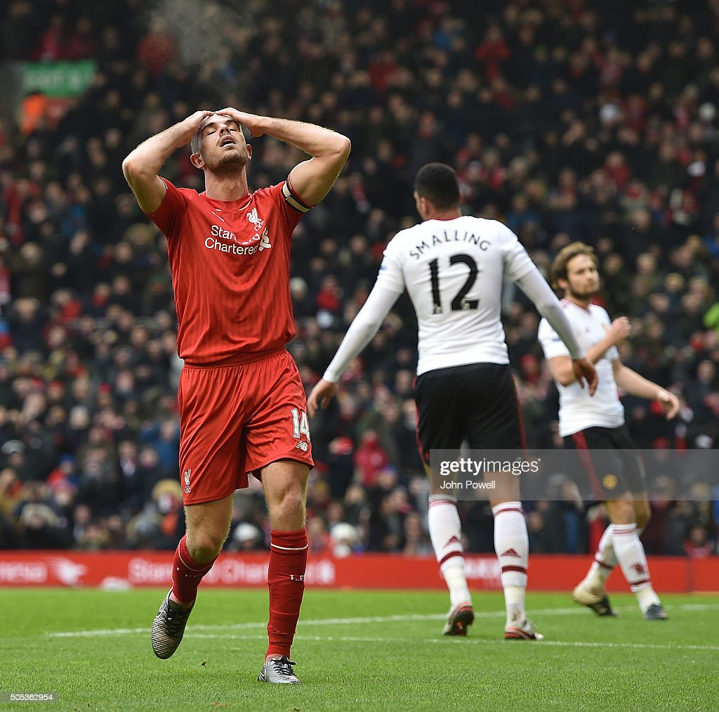 Jordan Henderson of Liverpool reacts during the Barclays Premier League match between Liverpool and Manchester United at Anfield on January 17, 2016 in Liverpool, England.