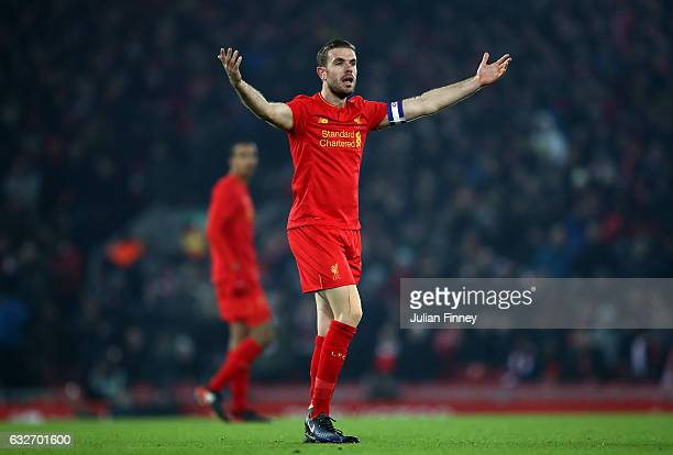 Jordan Henderson of Liverpool reacts during the EFL Cup SemiFinal Second Leg match between Liverpool and Southampton at Anfield on January 25 2017 in...