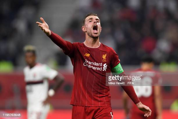 Jordan Henderson of Liverpool reacts during the FIFA Club World Cup Qatar 2019 Final match between Liverpool FC and CR Flamengo at Khalifa...