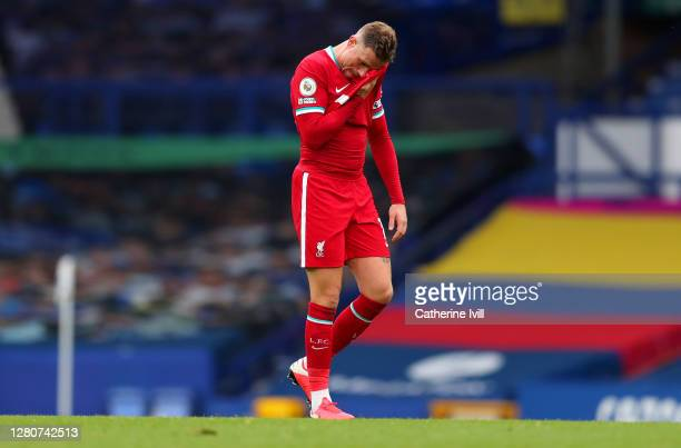 Jordan Henderson of Liverpool reacts during the Premier League match between Everton and Liverpool at Goodison Park on October 17, 2020 in Liverpool,...