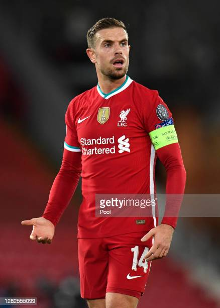Jordan Henderson of Liverpool reacts during the UEFA Champions League Group D stage match between Liverpool FC and FC Midtjylland at Anfield on...