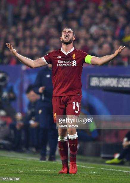 Jordan Henderson of Liverpool reacts during the UEFA Champions League group E match between Sevilla FC and Liverpool FC at Estadio Ramon Sanchez...