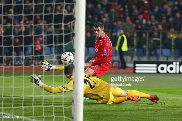 Jordan Henderson of Liverpool scores his sides second goal during the UEFA Champions League Group B match between Ludogorets Razgrad and Liverpool at...