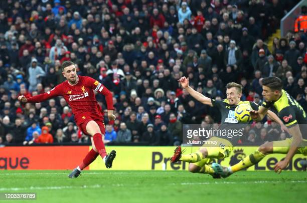 Jordan Henderson of Liverpool scores his team's second goal during the Premier League match between Liverpool FC and Southampton FC at Anfield on...
