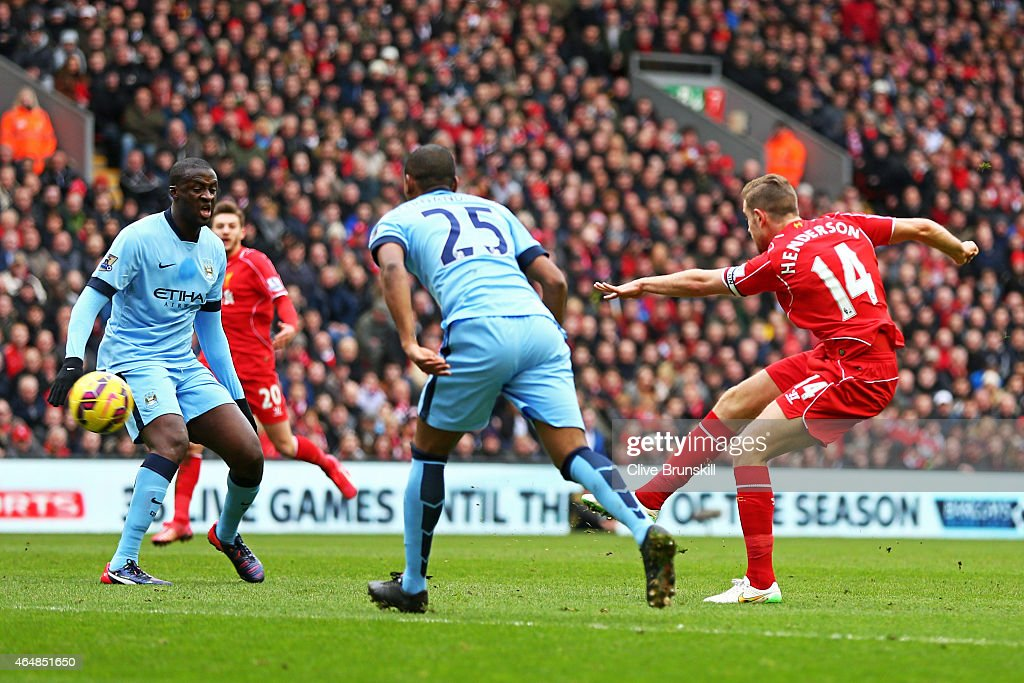 Jordan Henderson of Liverpool scores the opening goal during the Barclays Premier League match between Liverpool and Manchester City at Anfield on March 1, 2015 in Liverpool, England.