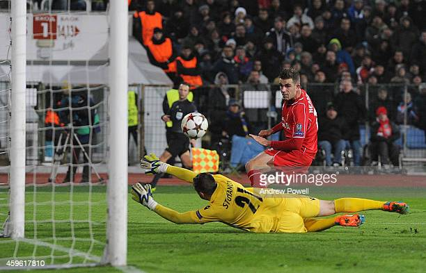 Jordan Henderson of Liverpool scores the second during the UEFA Champions League match between PFC Ludogorets Razgrad and Liverpool on November 26,...