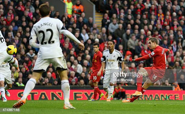 Jordan Henderson of Liverpool scores the second goal during the Barclays Premier League match between Liverpool and Swansea City at Anfield on...