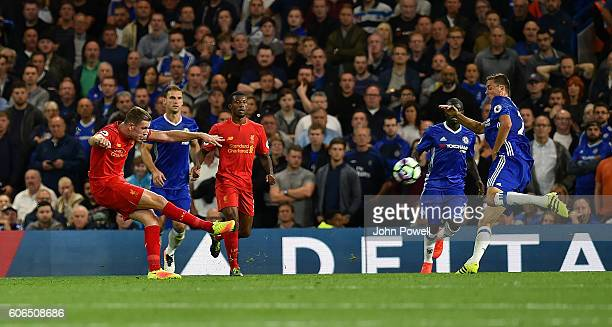 Jordan Henderson of Liverpool scores the second goal during the Premier League match between Chelsea and Liverpool at Stamford Bridge on September 16...