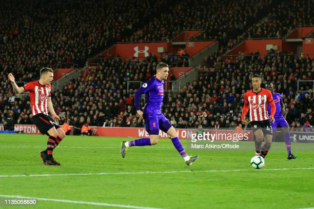 Jordan Henderson of Liverpool scores their 3rd goal during the Premier League match between Southampton FC and Liverpool FC at St Mary's Stadium on...
