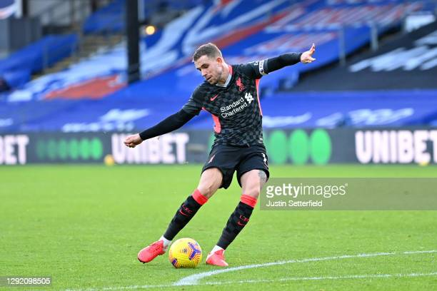 Jordan Henderson of Liverpool scores their sides fourth goal during the Premier League match between Crystal Palace and Liverpool at Selhurst Park on...