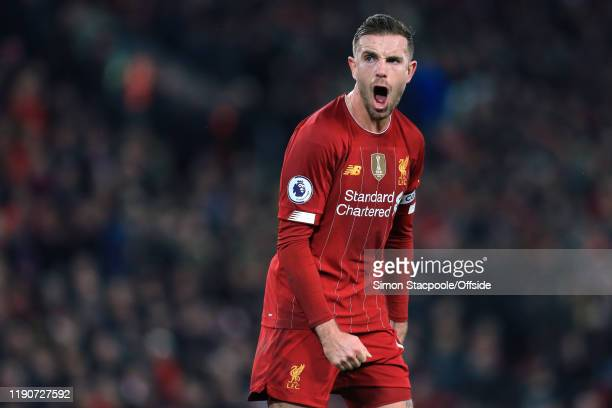 Jordan Henderson of Liverpool shouts encouragement during the Premier League match between Liverpool FC and Wolverhampton Wanderers at Anfield on...