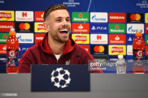 Jordan Henderson of Liverpool speaks to the media during a Liverpool Press Conference at Melwood Training Ground on February 18 2019 in Liverpool...