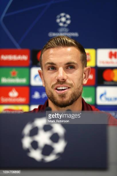 Jordan Henderson of Liverpool speaks to the media during the Liverpool press conference at Melwood Training Ground on September 17 2018 in Liverpool...