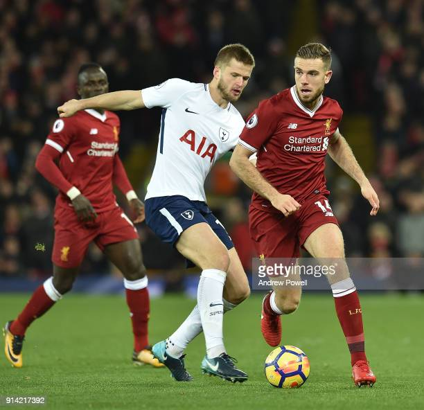 Jordan Henderson of Liverpool with ERic Dier of Tottenham during the Premier League match between Liverpool and Tottenham Hotspur at Anfield on...