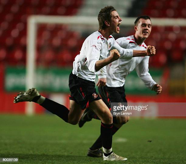 Jordan Henderson of Sunderland celebrates after scoring the winning goal during the quarter-finals of the FA Youth Cup match between Charlton...