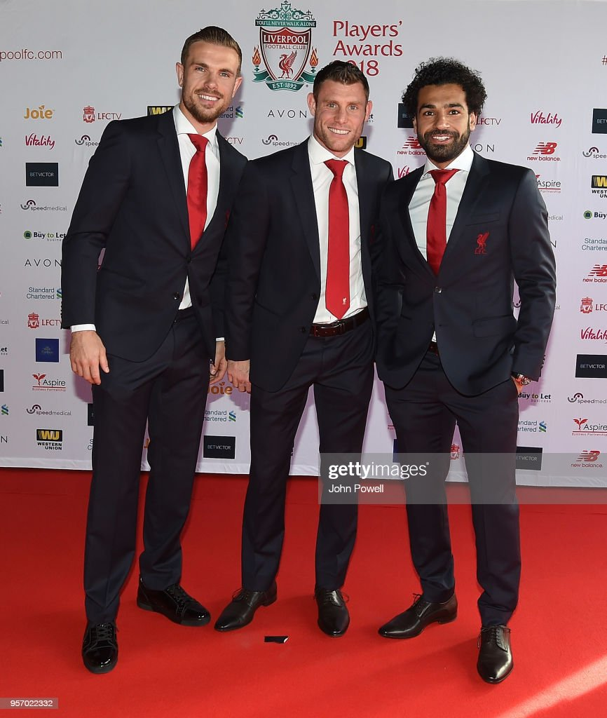 Jordan Henderson,James Milner, Mohamed Salah during the Player Awards at Anfield on May 10, 2018 in Liverpool, England.
