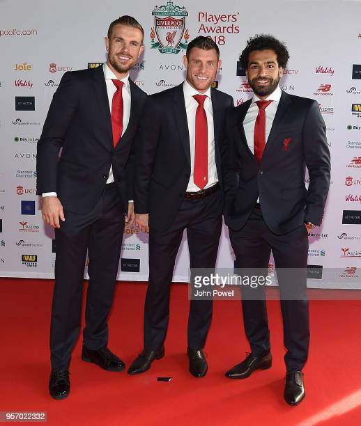 Jordan HendersonJames Milner Mohamed Salah during the Player Awards at Anfield on May 10 2018 in Liverpool England