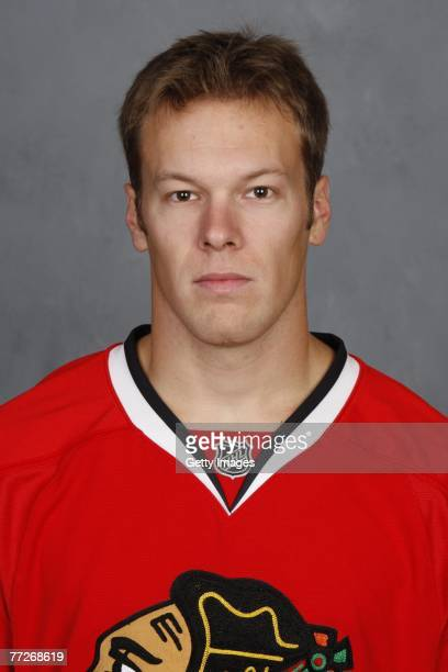 Jordan Hendry of the Chicago Blackhawks poses for his 2007 NHL headshot at photo day in Chicago Illinois