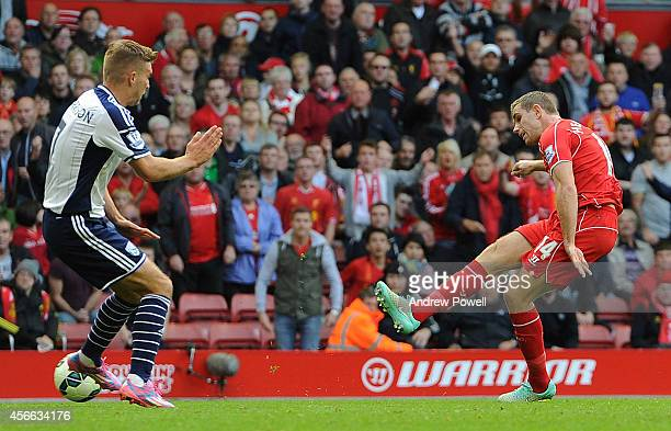 Jordan Henerson of Liverpool scores the second Liverpool goal during the Barclays Premier League match between Liverpool and West Bromwich Albion at...