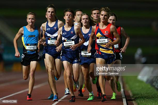 Jordan Hewitt of South Australia leads competitors during the mens U20 1500m during the Australian Junior Athletics Championships at Sydney Olympic...