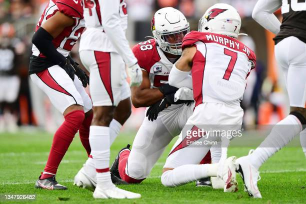 Jordan Hicks and Byron Murphy of the Arizona Cardinals celebrate breaking up a pass during a game against the Cleveland Browns at FirstEnergy Stadium...